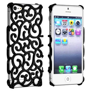 INSTEN Black Palace Flower Chrome Snap-on Phone Case Cover for Apple iPhone 5