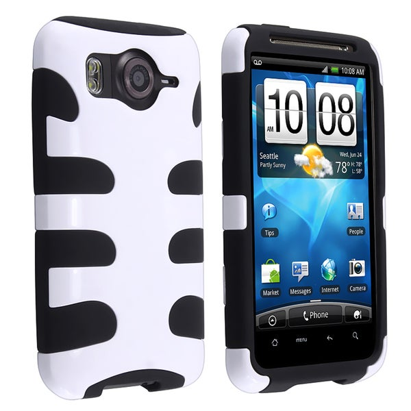 BasAcc Black/ White Fishbone Hybrid Case for HTC Inspire 4G / Desire