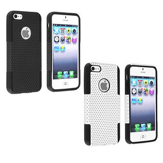 INSTEN Black/ Black Meshed Hybrid Phone Case Cover for Apple iPhone 5/ 5S