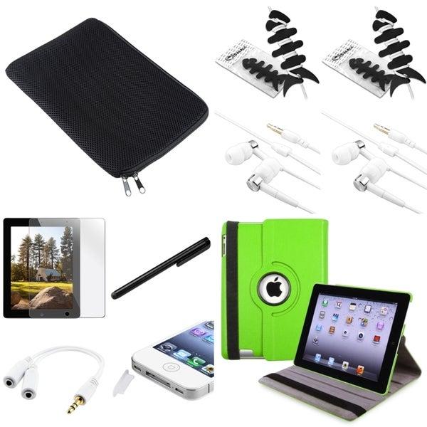 BasAcc Green Case/Protector/Splitter/Headset/Stylus for Apple iPad 2
