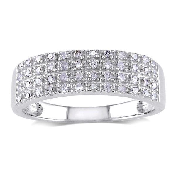 Haylee Jewels Sterling Silver 1/4ct TDW Pave Diamond Ring (H-I, I2-I3)