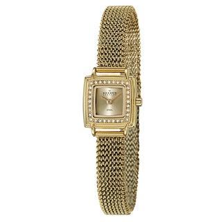 Skagen Women's 'Mesh' Yellow Goldplated Stainless Steel Crystal Watch