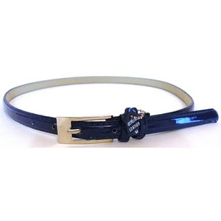 Women's Metallic Blue Leather Skinny Belt