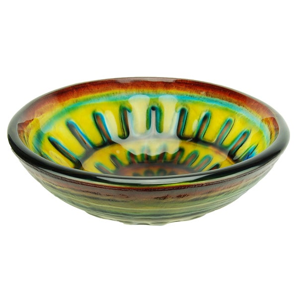Italia Phantasy Spiral Glass Vessel Bathroom Sink