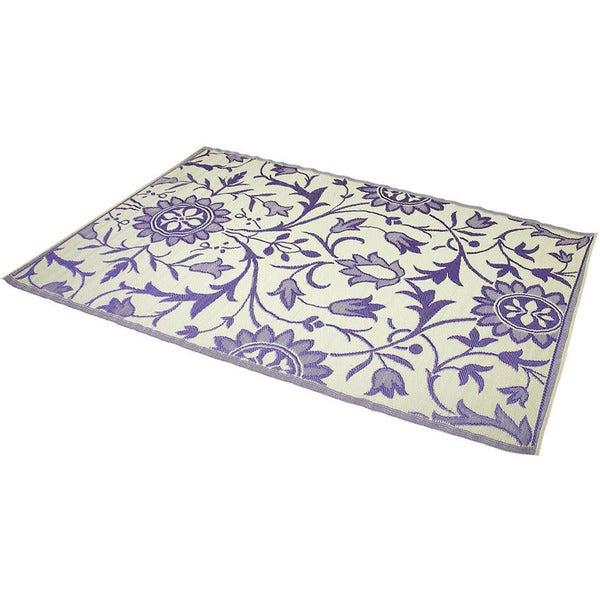 Reversible Indoor/ Outdoor Purple/ Ivory Rug (6' x 9') (India)