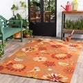 Hand-hooked Garlond Orange Indoor/Outdoor Floral Rug