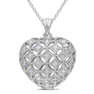 Haylee Jewels Sterling Silver 1/2ct TDW Diamond Heart Necklace (I-J, I2-I3)