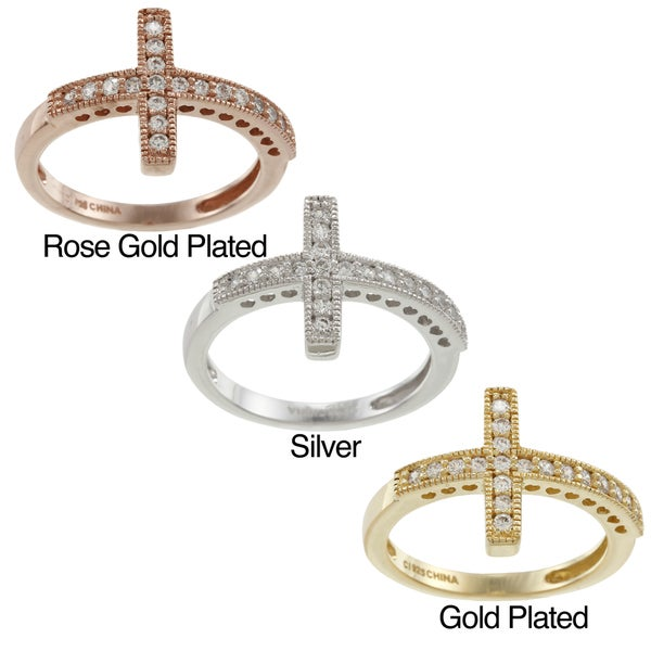 La Preciosa Sterling Silver Cubic Zirconia Sideways Cross Ring