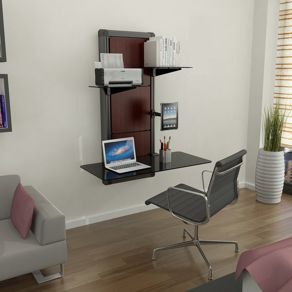 EVO Cherry Finish Wall Mount Desk