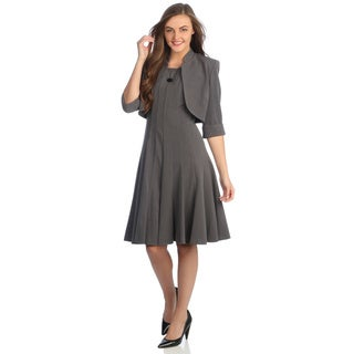 R &amp; M Richards Women&#39;s Charcoal 2-piece Career Dress