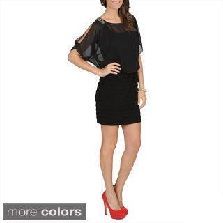 R & M Richards Black Dolman Sleeve Dress