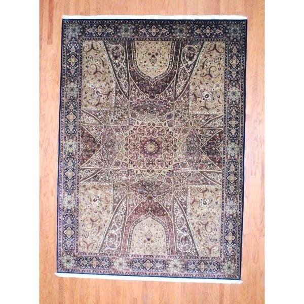 Indo Hand-knotted Tabriz Dark Brown/ Ivory Wool Rug (8'7 x 12')