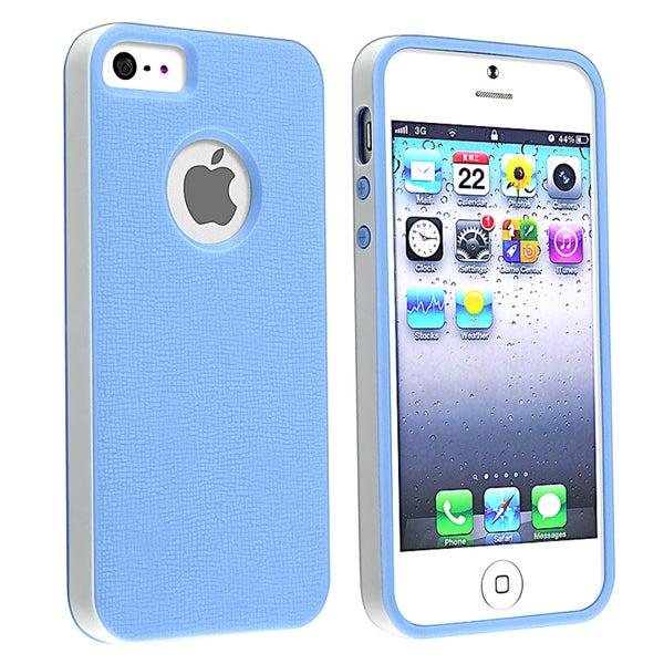 BasAcc Blue/ White Bumper TPU Rubber Skin Case for Apple® iPhone 5