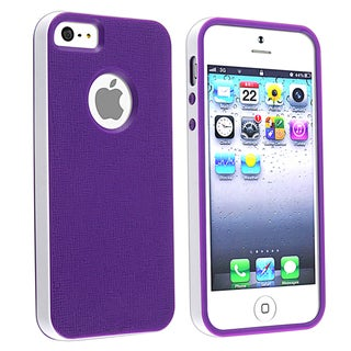 BasAcc Purple/ White Bumper TPU Rubber Skin Case for Apple� iPhone 5