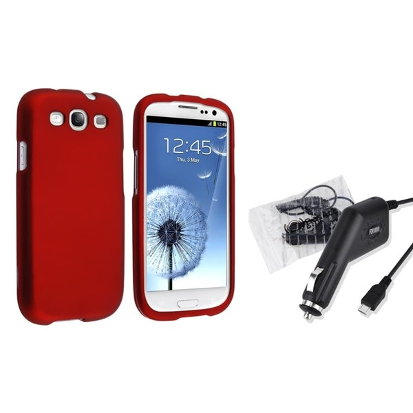 INSTEN Red Snap-on Case Cover/ Car Charger for Samsung Galaxy S3/ SIII