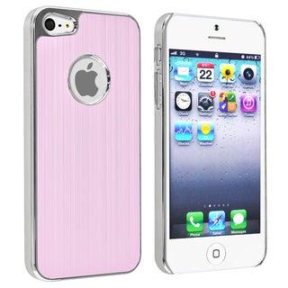 INSTEN Light Pink Brushed Chrome Aluminum Rear Phone Case Cover for Apple iPhone 5