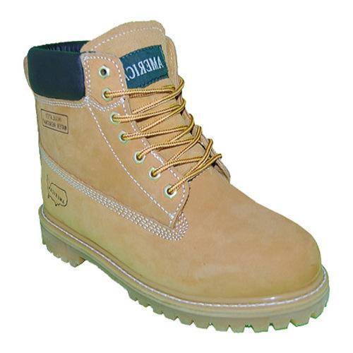 Men's American Rugged Wear 6in Steel Toe Leather Work Boot Wheat Leather