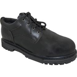Men's American Rugged Wear Leather Steel Toe Oxford Black Leather