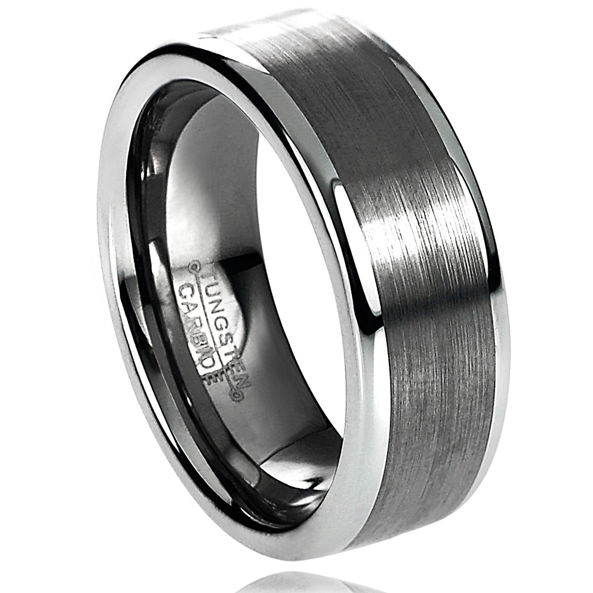Eziba Collection Daxx Men's Tungsten Carbide Brushed Raised Edge Band (8 mm) at Sears.com