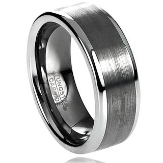 Vance Co. Men's Tungsten Carbide Brushed Raised Edge Band (8 mm)