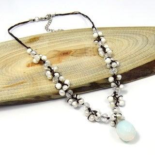 Moonstone Tears Pearl Glow Silk Thread Necklace (Thailand)