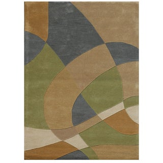 Contemporary Hand-Tufted Geometric Brown Wool Rug (8' x 11')