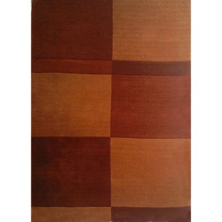 Hand-tufted Geometric Brown Wool Rug (8' x 11')