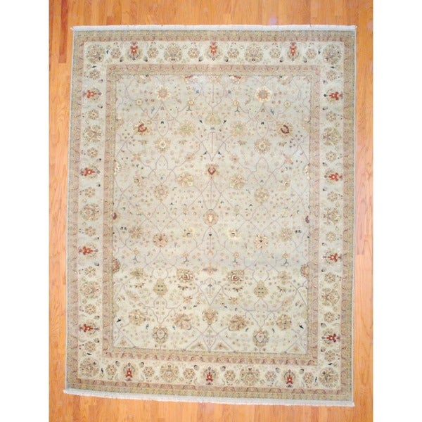 Indo Hand-knotted Vegetable Dye Beige/ Gold Wool Rug (9' x 12')