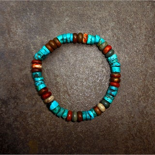 Pavcus Designs Genuine Turquoise and Red Creek Jasper Gemstone Stretch Bracelet