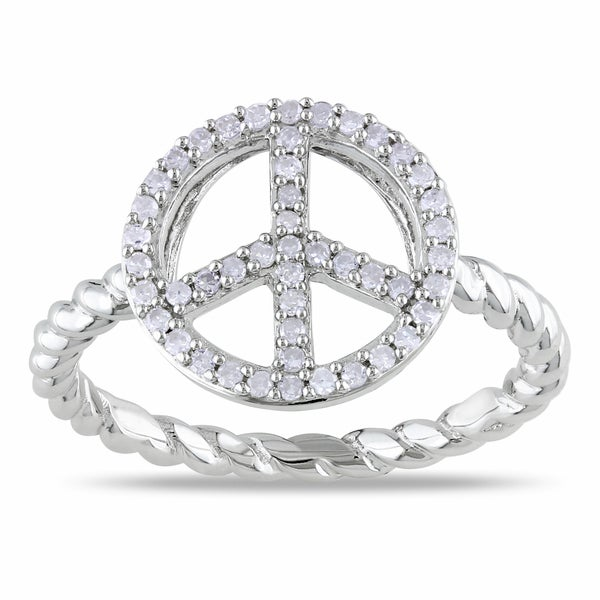 Haylee Jewels Sterling Silver 1/5ct TDW Diamond Peace Sign Ring