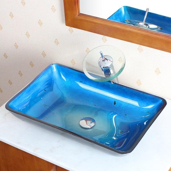 CAE Blue Tempered Glass Vessel Sink