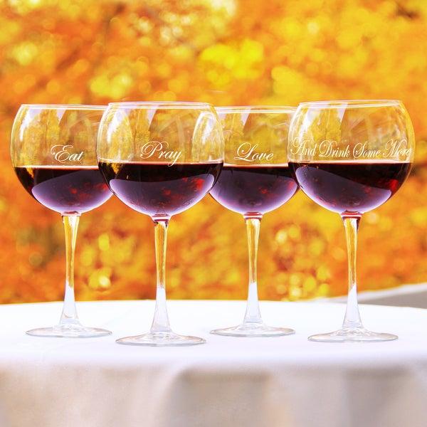 Eat, Pray, Love Red Wine Glasses (Set of 4)