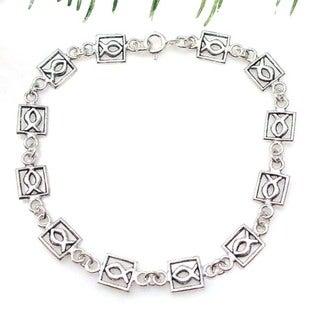 Christian Fish Jesus Link Silver Bracelet (Thailand)