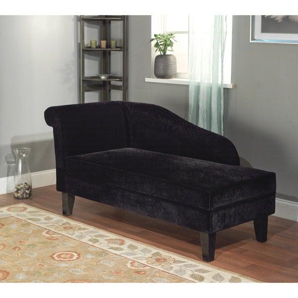 Simple Living Milan Microfiber Black Storage Chaise Lounge