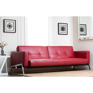 ABBYSON LIVING Frankfurt Red Faux Leather Convertible Sofa