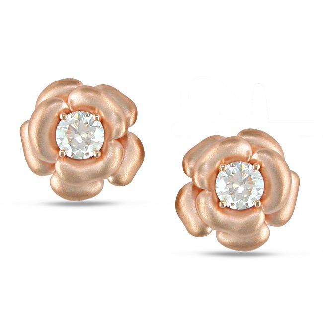 Miadora 14k Pink Gold 1/5ct TDW Diamond Flower Earrings (G-H, SI2)