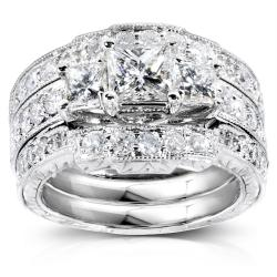 14k White Gold 1 7/8ct TDW Diamond Bridal Ring Set