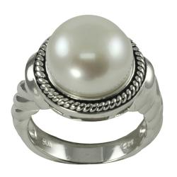 Pearls For You Sterling Silver White Freshwater Button Pearl Ring (12.5-13 mm)