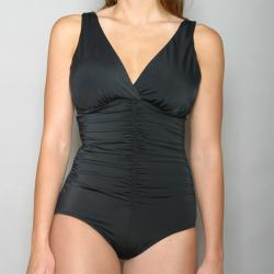 Jantzen Classics Shirred V-neck 1-piece Swimsuit