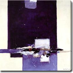 Abstract 'Purple, Black and White' Giclee Canvas Art