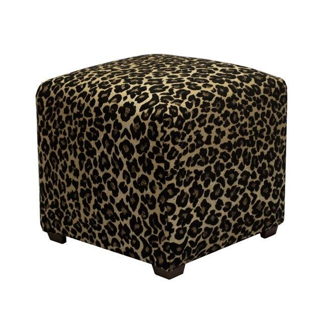 Tyler Black Leopard Cube Ottoman