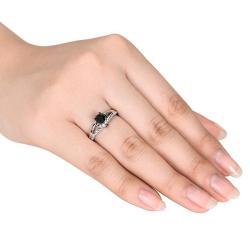 Miadora 10k White Gold 1ct TDW Black and White Diamond Ring (G-H, I2-I3)