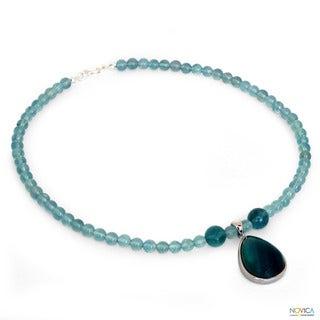 Sterling Silver 'Blue Genie' Fluorite Necklace (Thailand)