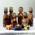 Set of 10 Handcrafted Pinewood 'Angelical' Nativity Scene (Guatemala)