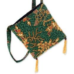 Cotton 'Princess Art' Medium Beaded Batik Shoulder Bag (Indonesia)