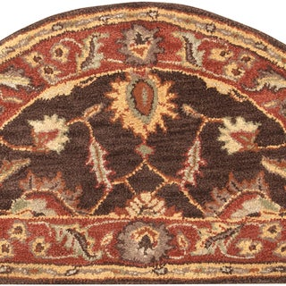 Hand-tufted Sand Brown Floral Border Wool Rug (2' x 4' Hearth)