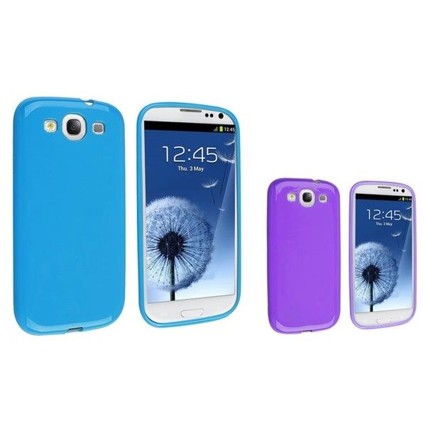 INSTEN Purple TPU Phone Case Cover/ Blue TPU Phone Case Cover for Samsung Galaxy S III/ S3