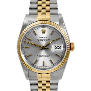 Pre-owned Rolex Mens Two Tone Datejust Silver Stick Dial Watch