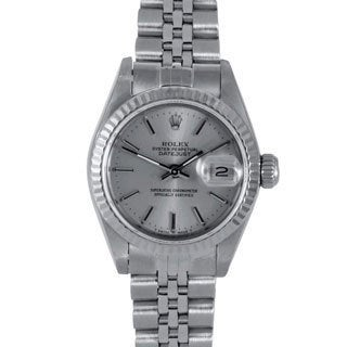 Pre-owned Rolex Women's Silver Dial Jubilee Stainless Crown Datejust Watch