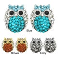 Kate Marie Goldtone or Silvertone Acrylic and Rhinestone Owl Design Earrings
